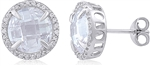 Silver Plating Earrings with Checkered Cut Cubic Zirconia