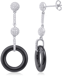 Silver Earring with Ceramic & Micro Set Cubic Zirconia