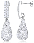Silver Earrings with Crystals & Cubic Zirconia