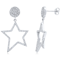 Silver Earrings with CZ. Star