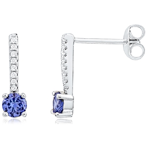 Silver Earrings With CZ  and Blue CZ Stone
