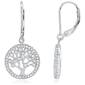 Silver Tree Of Life Earrings With CZ