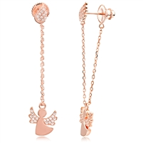 Silver Earring Angel with CZ And Rose Gold Plated