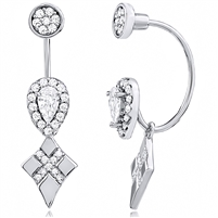 Silver Pear Shape Halo Earring with CZ