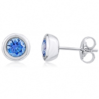 Silver Earring with Blue Swarovski Crystal