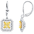 Silver Earrings with Princes Cut Yellow and White CZ