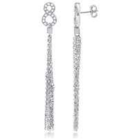 Silver Chain Tassel Earrings with CZ
