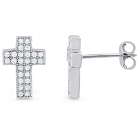 Silver Cross Earrings with CZ