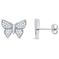 Silver Butterfly Earrings with CZ