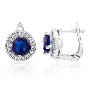 Silver Earring With Blue and White CZ