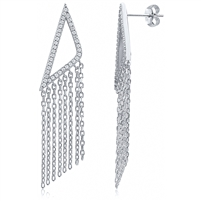 Silver Triangle Tassel Earrings with CZ