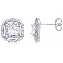 Silver Halo Stud Earrings with CZ