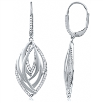 Silver Dangling Matt Finish Earrings with CZ