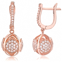 Silver Dancing Rose Gold Plated Earrings with CZ