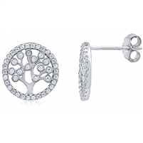 Silver Tree Of Life Earring with CZ