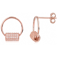 Silver Rose Gold Plated Earrings with CZ