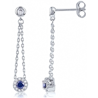 Silver Dangling Earring with Blue CZ