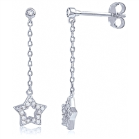 Silver Star Dangling Earring with CZ