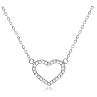 Silver Open Heart Necklace with CZ