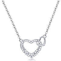 Silver Double Heart Necklace with CZ
