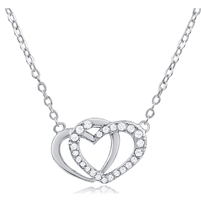 Silver Double Heart Necklace Plain and with CZ
