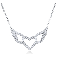 Silver Necklace with CZ Heart Pendant