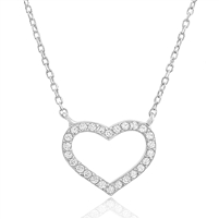 Silver Necklace with Cubic Zirconia Heart