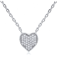 Silver Heart Necklace with Cubic Zirconia