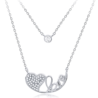 Silver Layer Love - Heart Necklace with Cubic Zirconia