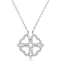 Silver Convertible (Magnetic) Four Leaf Clover - Hearts Necklace with Cubic Zirconia