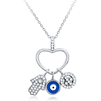 Silver Heart Pendant With Hamsa, Evil Eye and Peace CZ Charms Necklace