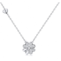 Silver Heart Necklace With CZ