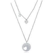 Silver Double Layers Heart Necklace with CZ