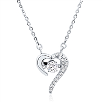 Silver Heart Necklace With CZ Dancing Stone