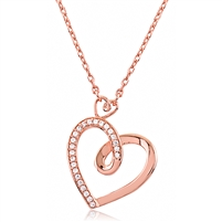 Silver Rose Gold Heart Necklace With CZ
