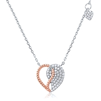 Silver Rose Gold Plated Heart Necklace With CZ