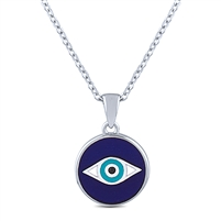 Silver Necklace Evil Eye Reversible With Mother of Pearl And Enamel