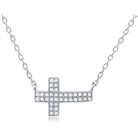 Silver Cross Necklace With CZ
