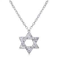 Silver Star Of David Necklace With CZ