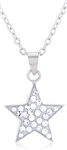 Silver Star Necklace with Crystals