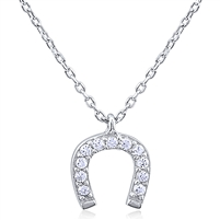 Silver Necklace with Cubic Zirconia Horseshoe