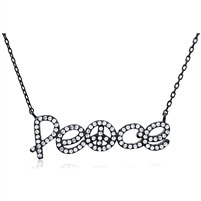 Silver Necklace Peace Pendant with Cubic Zirconia