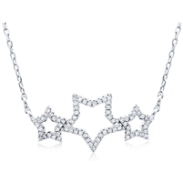 Silver Necklace with Cubic Zirconia Stars