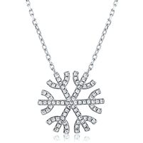 Silver Snowflake Necklace with CZ