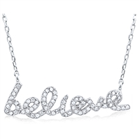 Silver Believe Necklace with CZ