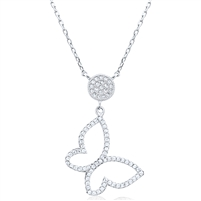 Silver Necklace with Cubic Zirconia Butterfly