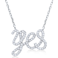 Silver Necklace with Cubic Zirconia Yes
