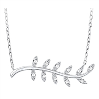 Silver Olive Leaf Necklace with Cubic Zirconia