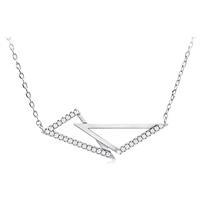 Silver Triangle Necklace with Cubic Zirconia