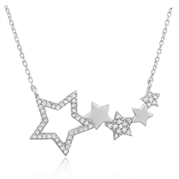 Silver Necklace Stars with Cubic Zirconia